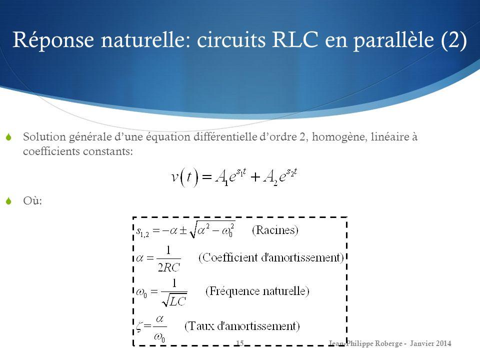 Réponse naturelle: circuits RLC en parallèle (2)
