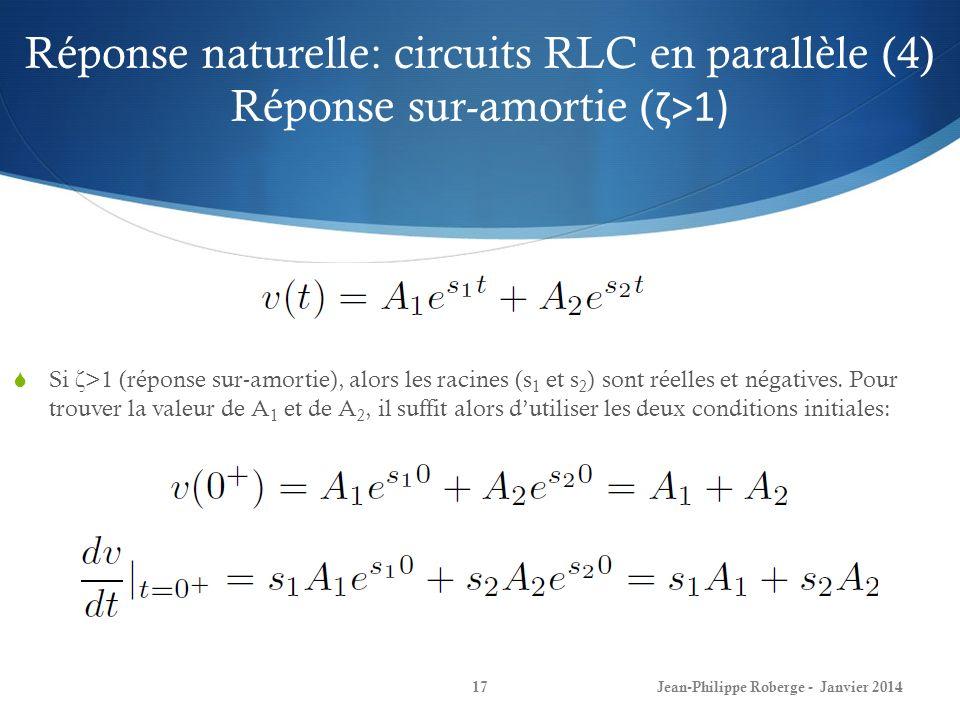 Réponse naturelle: circuits RLC en parallèle (4) Réponse sur-amortie (ζ>1)
