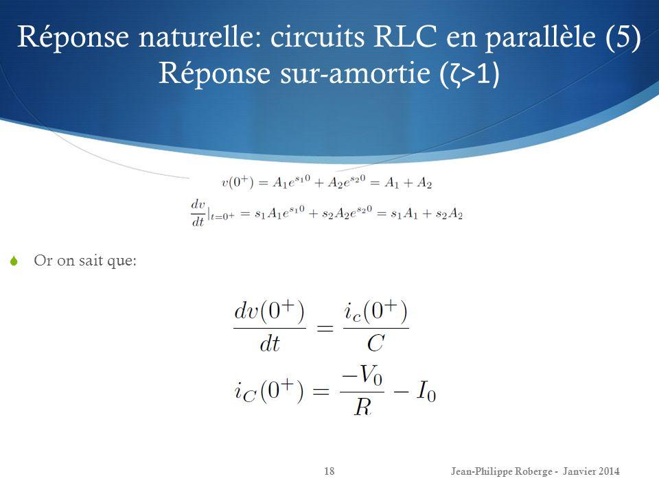 Réponse naturelle: circuits RLC en parallèle (5) Réponse sur-amortie (ζ>1)