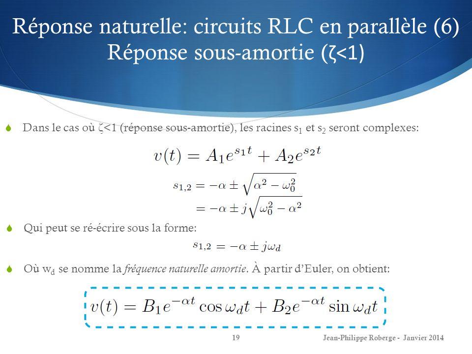 Réponse naturelle: circuits RLC en parallèle (6) Réponse sous-amortie (ζ<1)
