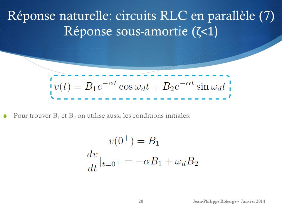 Réponse naturelle: circuits RLC en parallèle (7) Réponse sous-amortie (ζ<1)