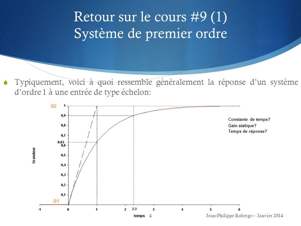 Retour sur le cours #9 (1) Système de premier ordre