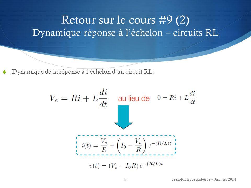 Retour sur le cours #9 (2) Dynamique réponse à l'échelon – circuits RL