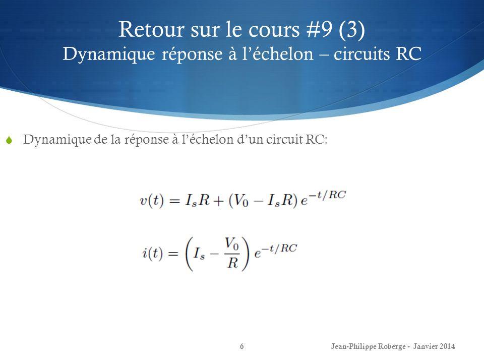 Retour sur le cours #9 (3) Dynamique réponse à l'échelon – circuits RC