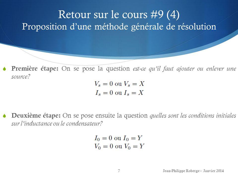 Retour sur le cours #9 (4) Proposition d'une méthode générale de résolution