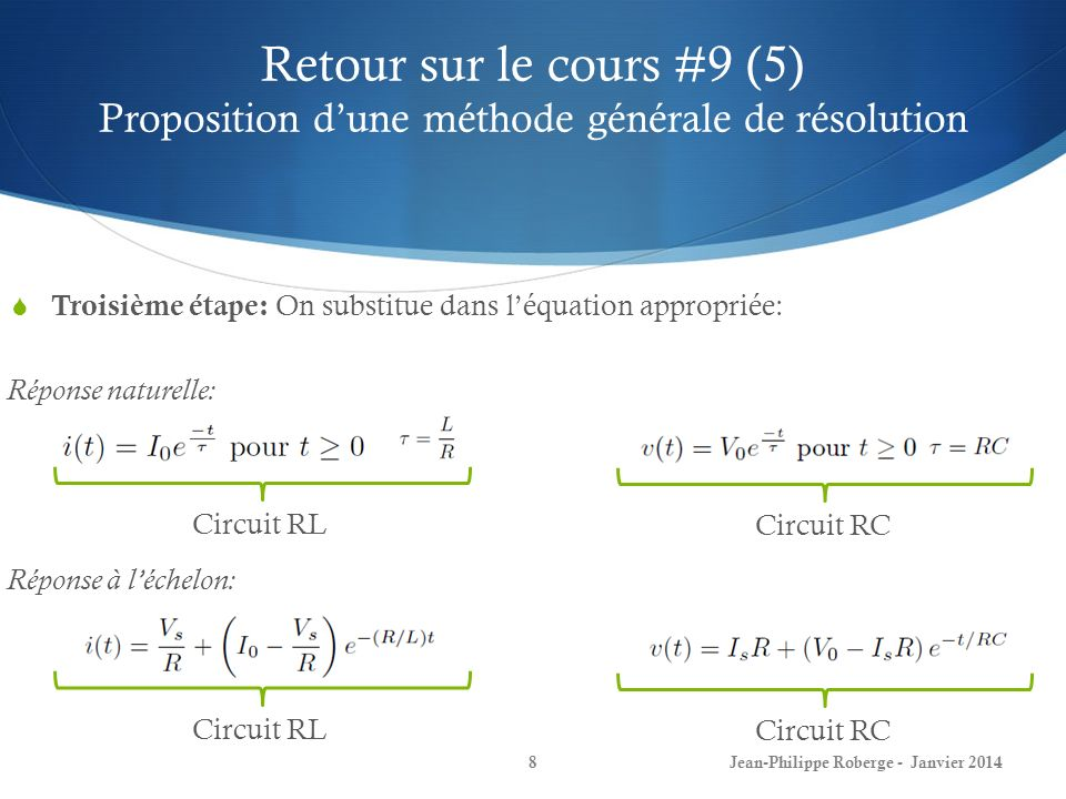 Retour sur le cours #9 (5) Proposition d'une méthode générale de résolution