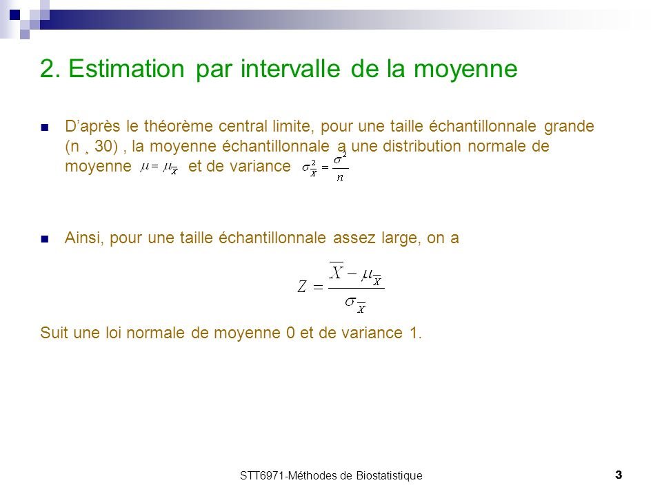 2. Estimation par intervalle de la moyenne