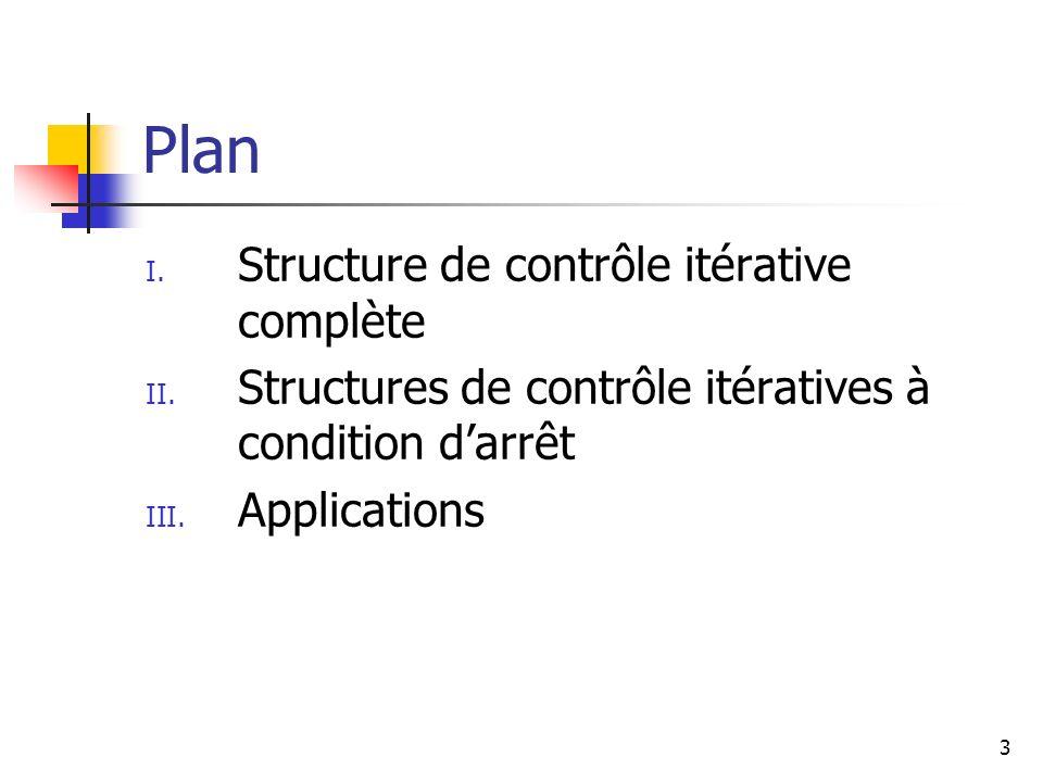 Plan Structure de contrôle itérative complète