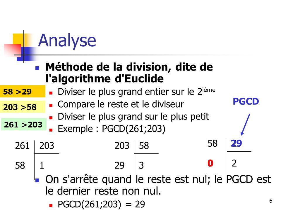 Analyse Méthode de la division, dite de l algorithme d Euclide