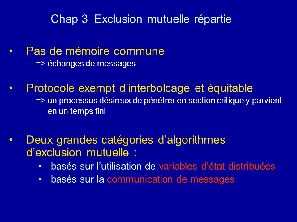Chap 3 Exclusion mutuelle répartie