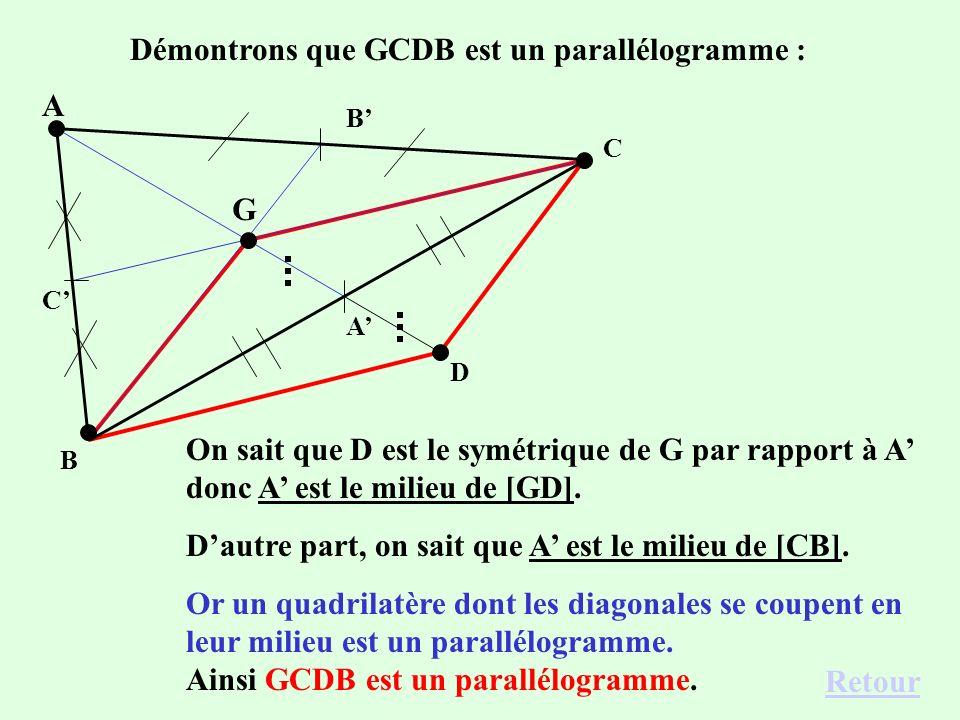 Démontrons que GCDB est un parallélogramme :