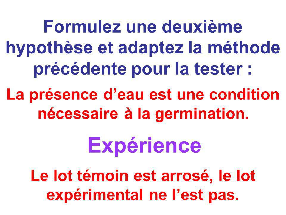 Formulez une deuxième hypothèse et adaptez la méthode précédente pour la tester :