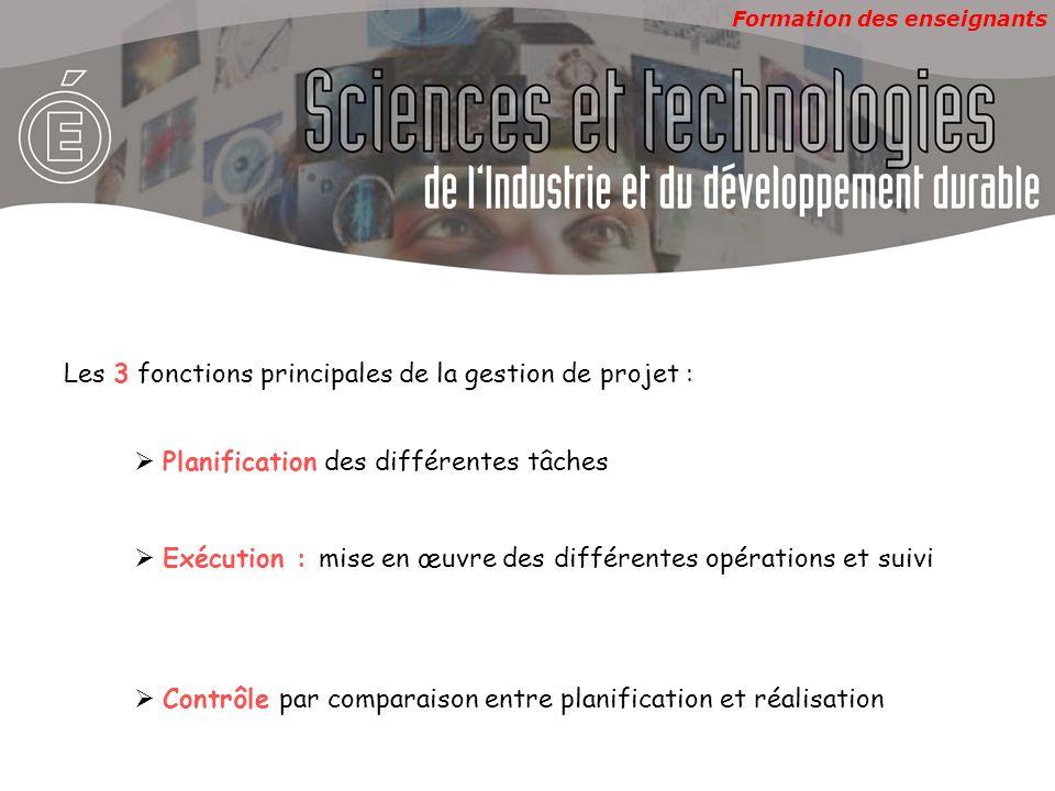 Les 3 fonctions principales de la gestion de projet :