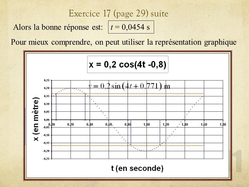 Exercice 17 (page 29) suite Alors la bonne réponse est: t = 0,0454 s