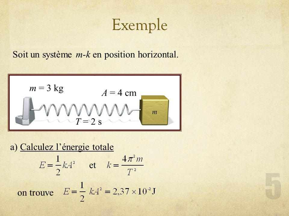Exemple Soit un système m-k en position horizontal. m = 3 kg A = 4 cm