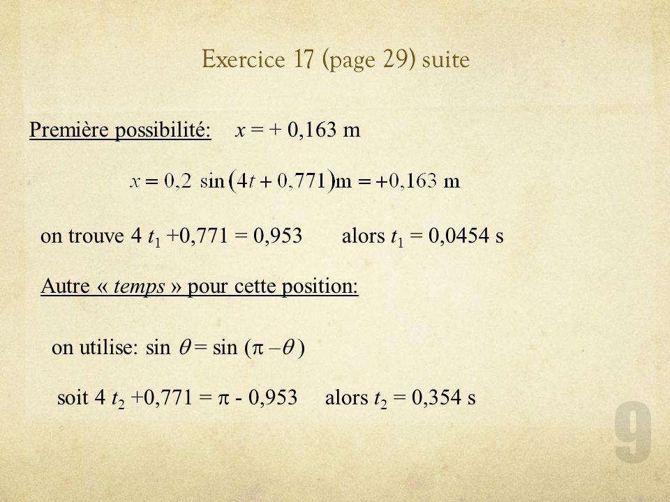 Exercice 17 (page 29) suite Première possibilité: x = + 0,163 m