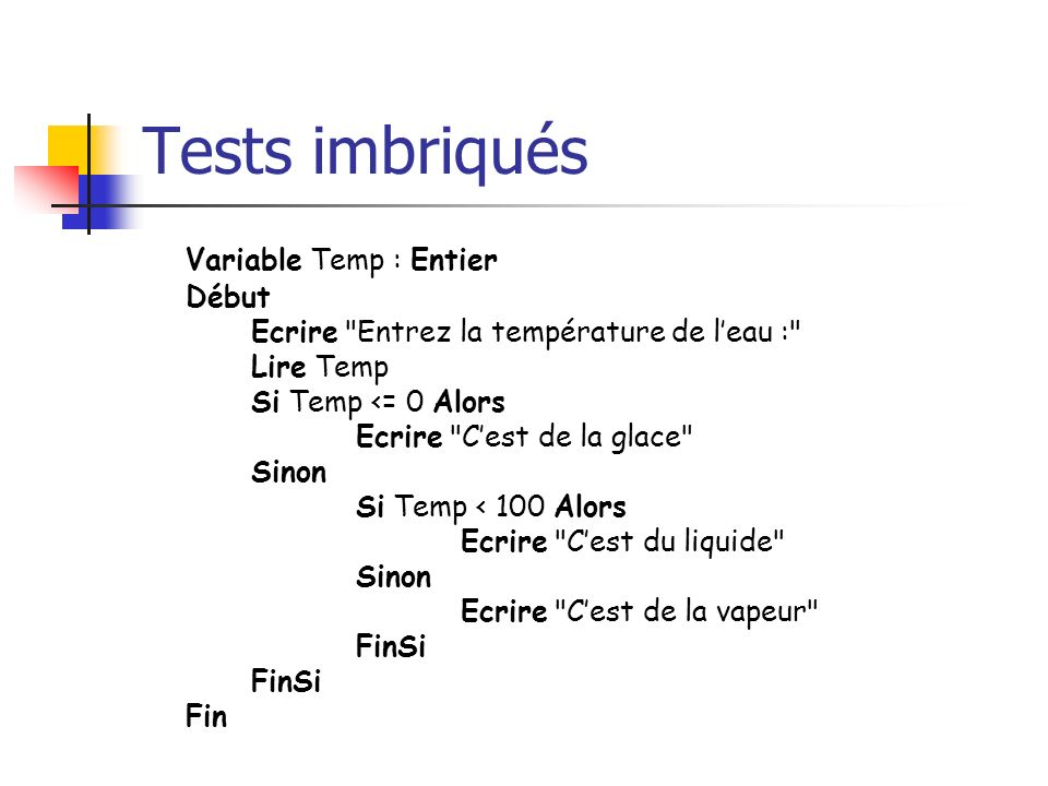 Tests imbriqués