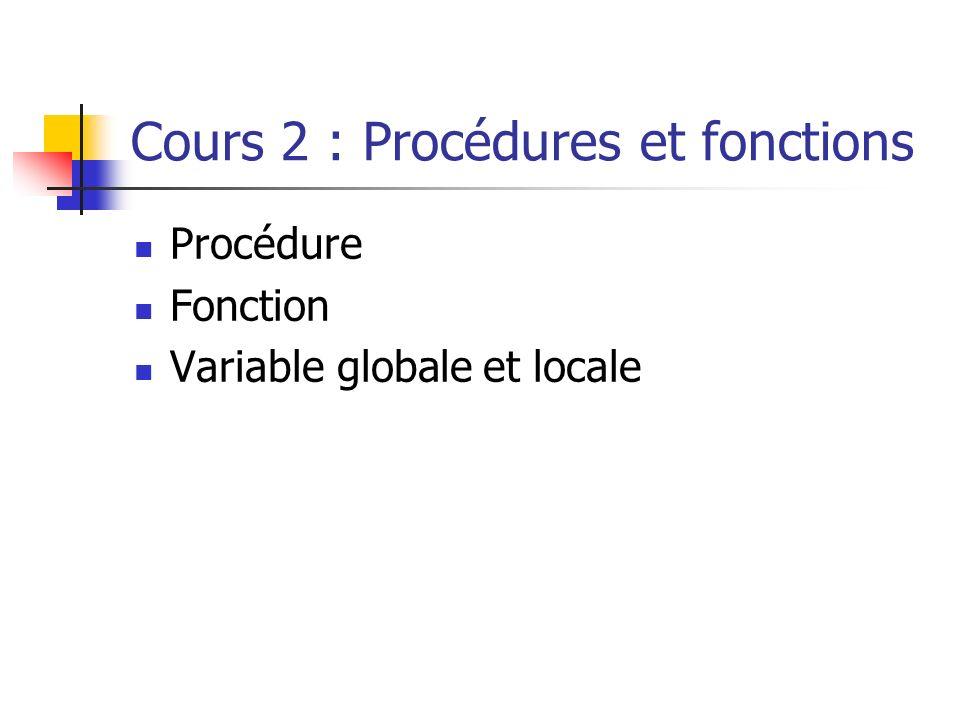 Cours 2 : Procédures et fonctions