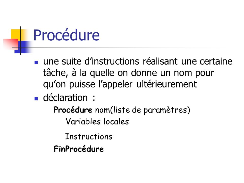 Procédure Instructions