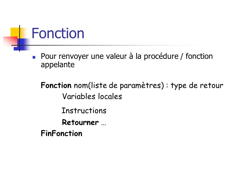 Fonction Instructions