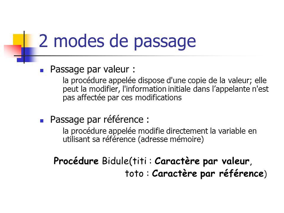 2 modes de passage Passage par valeur : Passage par référence :