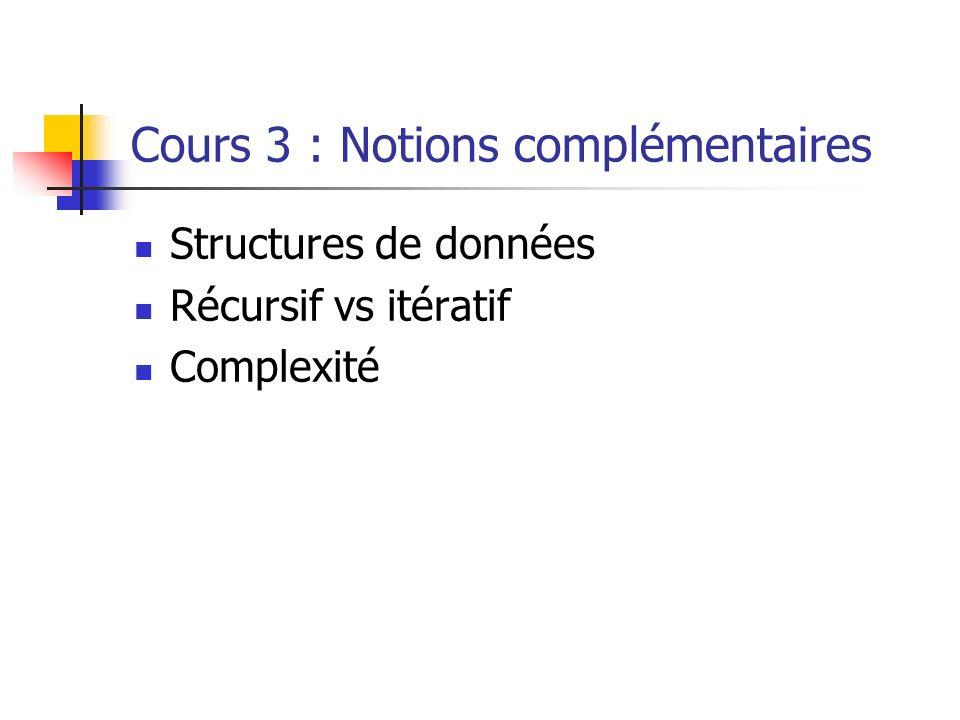 Cours 3 : Notions complémentaires