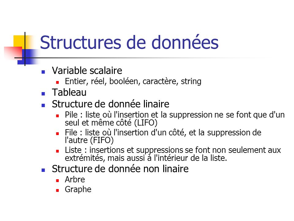 Structures de données Variable scalaire Tableau
