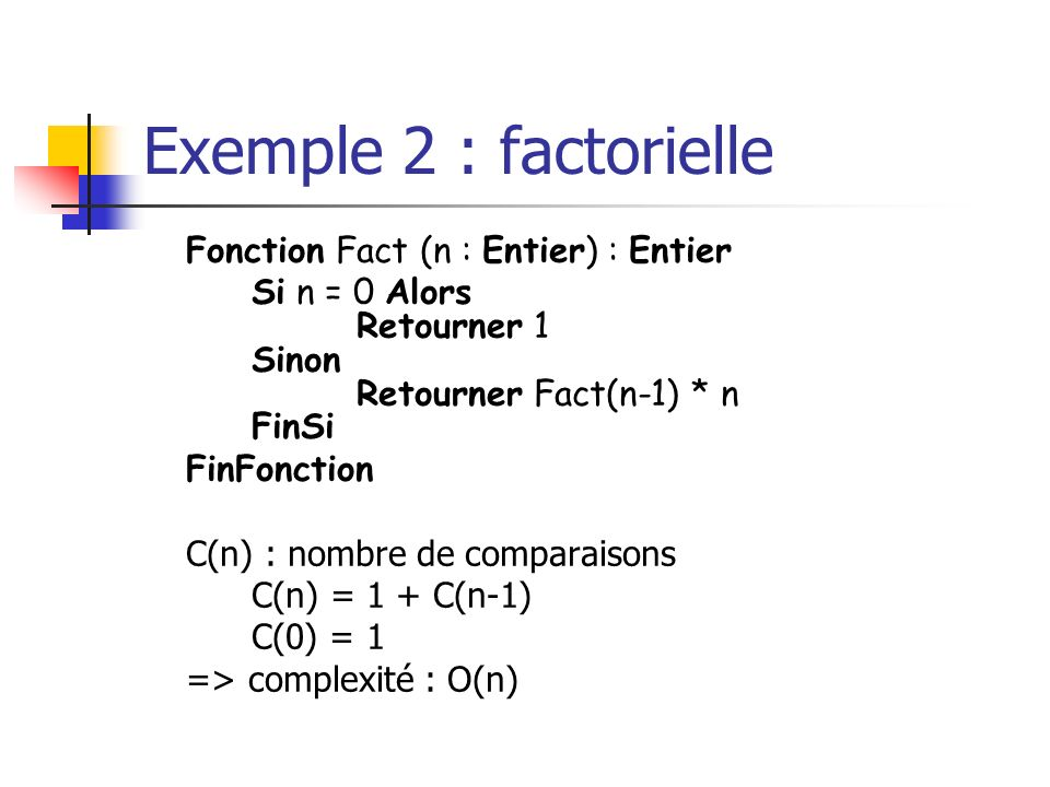 Exemple 2 : factorielle Fonction Fact (n : Entier) : Entier. Si n = 0 Alors Retourner 1 Sinon Retourner Fact(n-1) * n FinSi.
