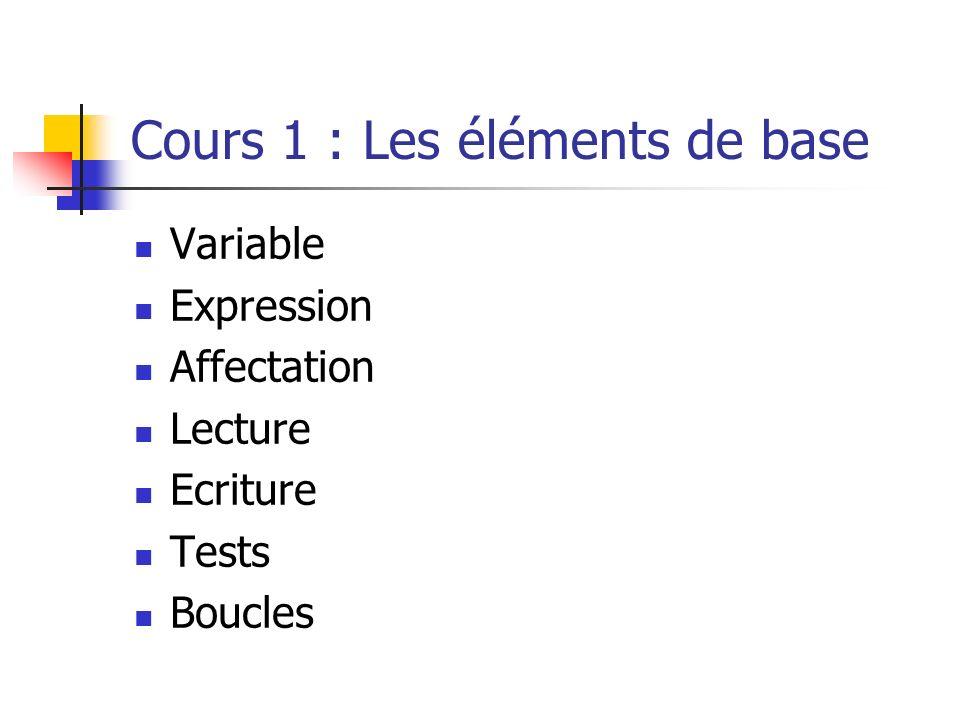 Cours 1 : Les éléments de base
