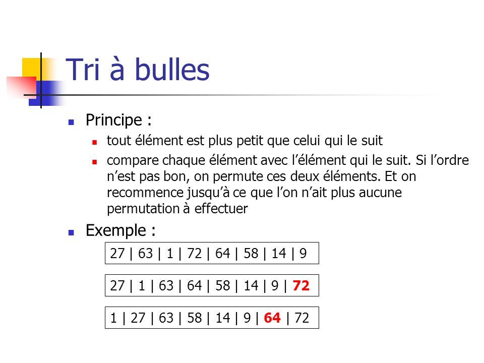 Tri à bulles Principe : Exemple :
