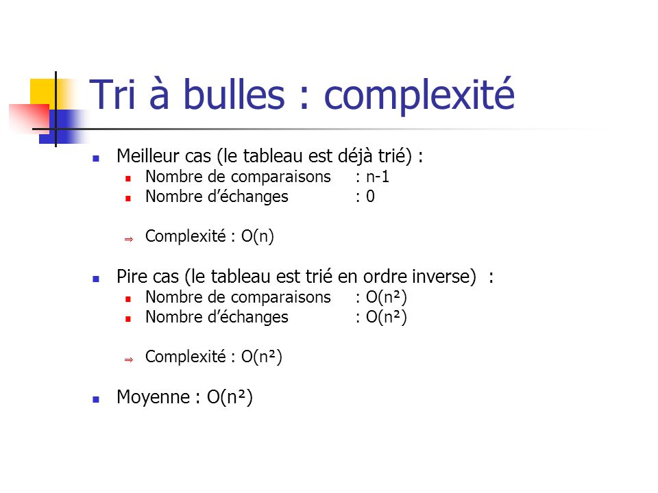 Tri à bulles : complexité