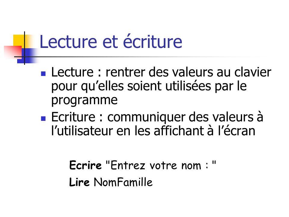 Lecture et écriture Lecture : rentrer des valeurs au clavier pour qu'elles soient utilisées par le programme.