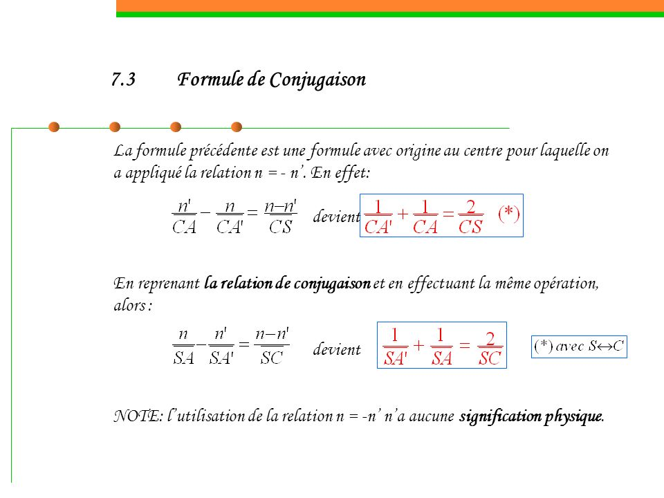 7.3 Formule de Conjugaison