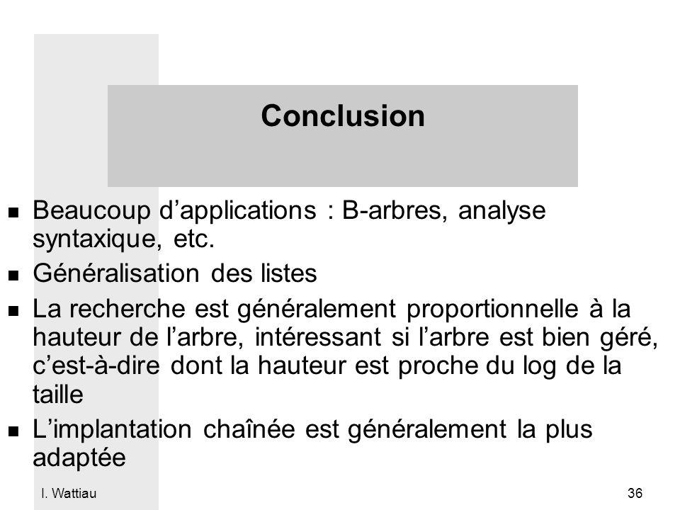 Conclusion Beaucoup d'applications : B-arbres, analyse syntaxique, etc. Généralisation des listes.