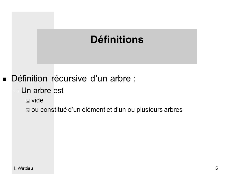 Définitions Définition récursive d'un arbre : Un arbre est vide