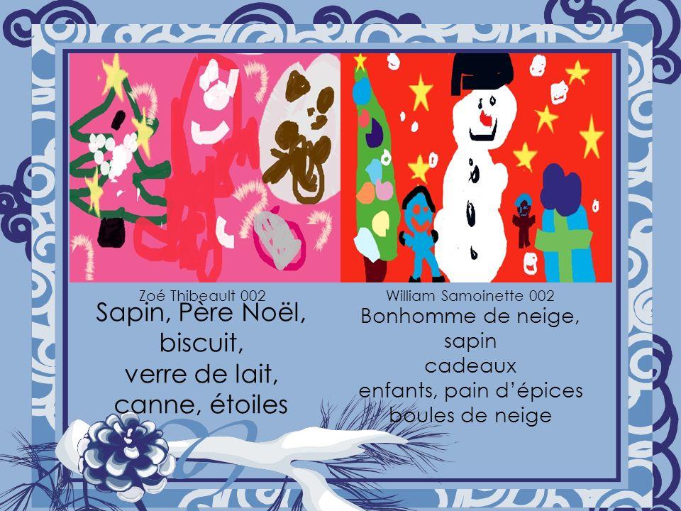 Sapin, Père Noël, biscuit, verre de lait, canne, étoiles