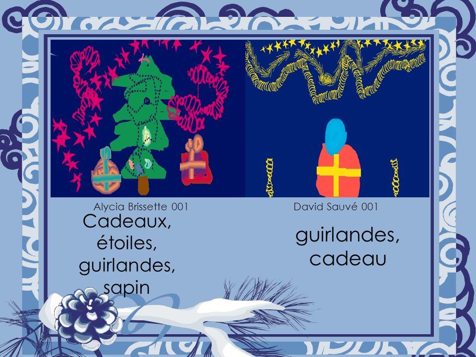 Cadeaux, étoiles, guirlandes, sapin