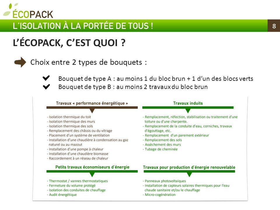 L'ÉCOPACK, C'EST QUOI Choix entre 2 types de bouquets : 8