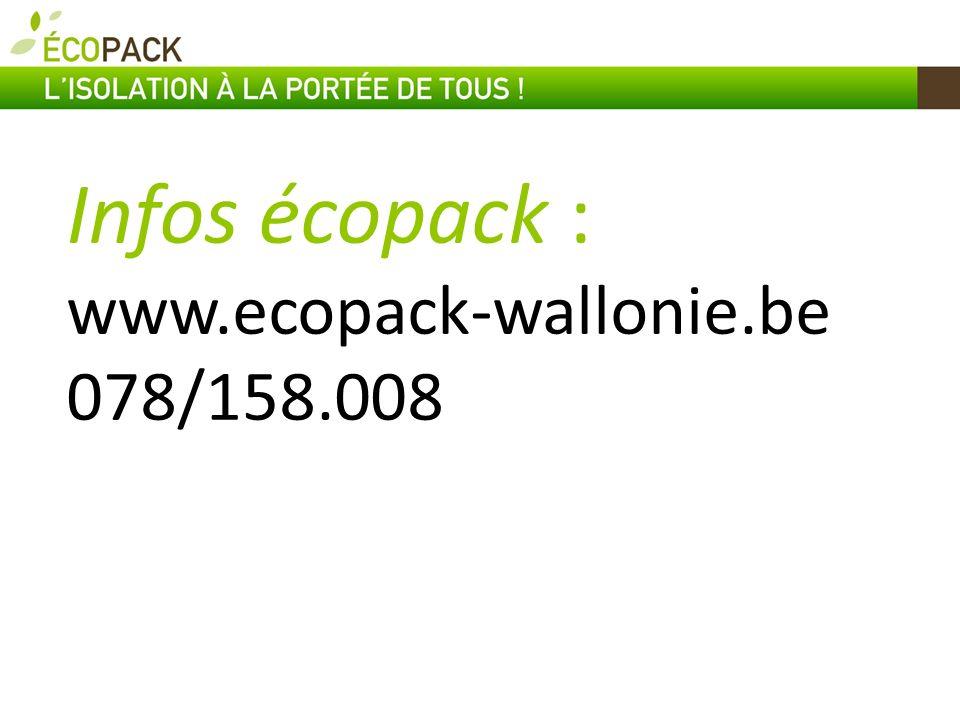 Infos écopack : www.ecopack-wallonie.be 078/158.008