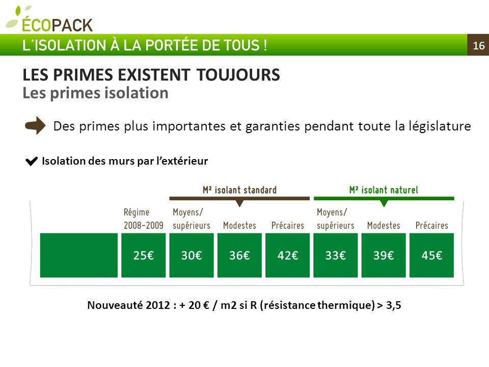 Nouveauté 2012 : + 20 € / m2 si R (résistance thermique) > 3,5