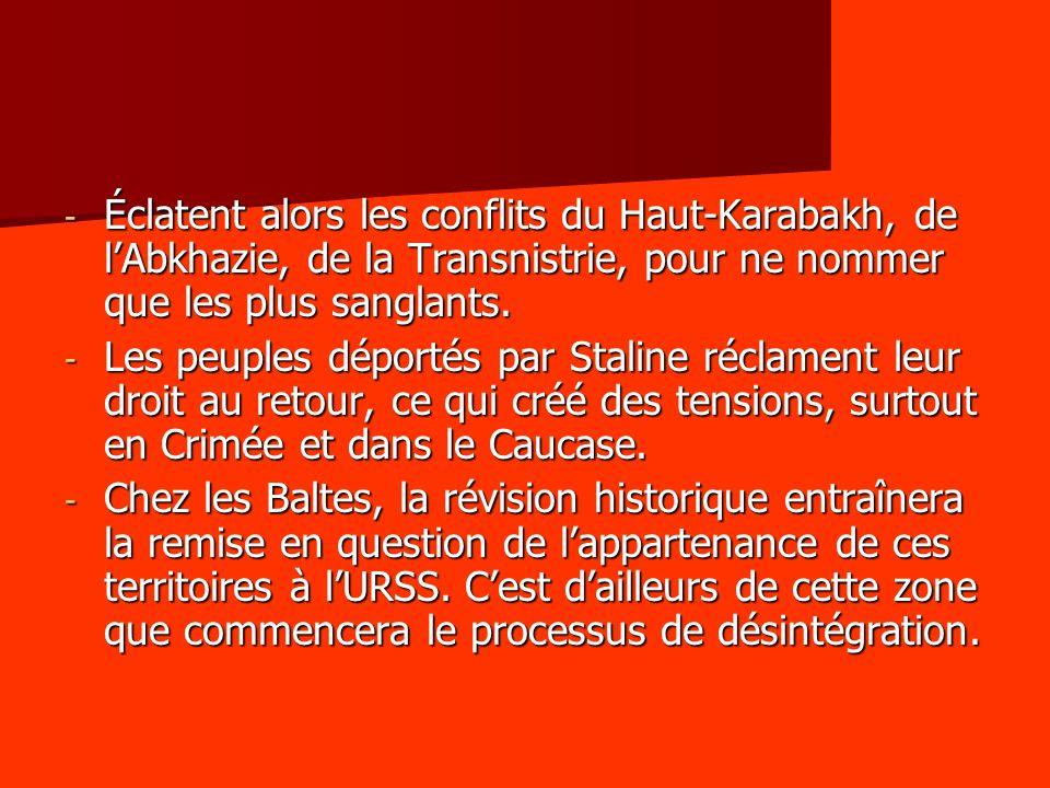 Éclatent alors les conflits du Haut-Karabakh, de l'Abkhazie, de la Transnistrie, pour ne nommer que les plus sanglants.