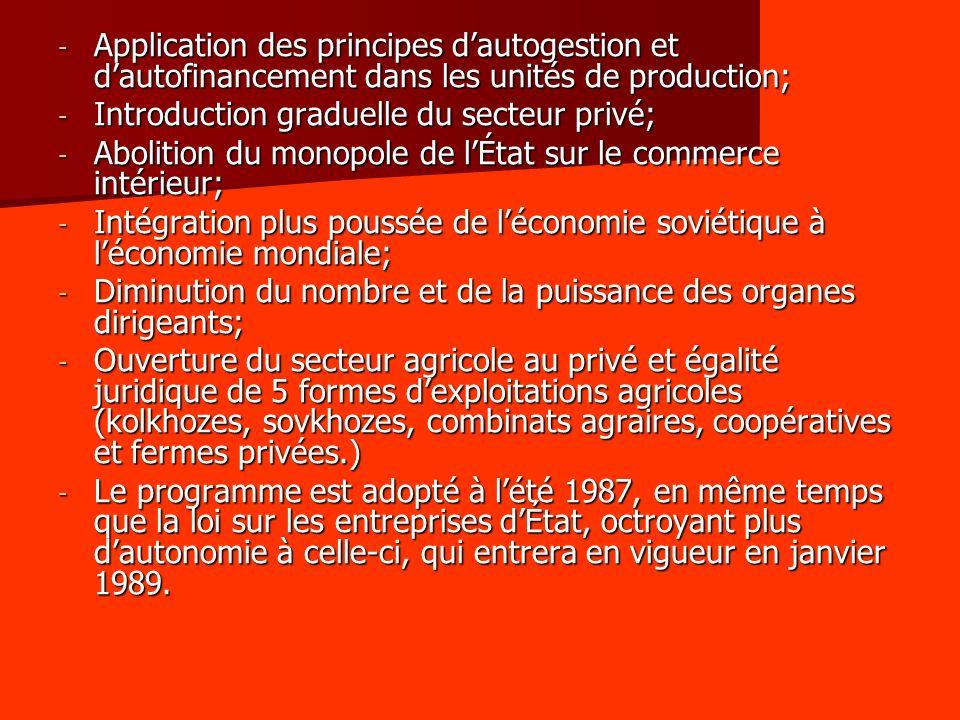 Application des principes d'autogestion et d'autofinancement dans les unités de production;
