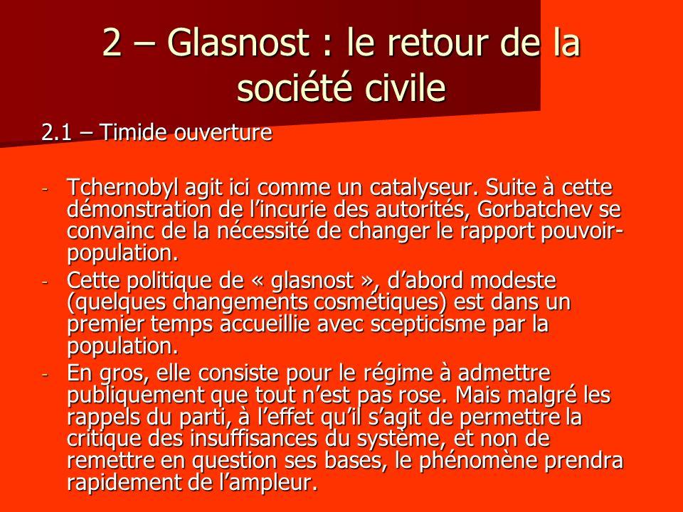 2 – Glasnost : le retour de la société civile