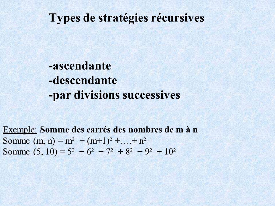 Types de stratégies récursives