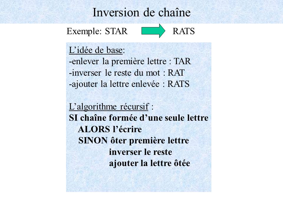 Inversion de chaîne Exemple: STAR RATS L'idée de base: