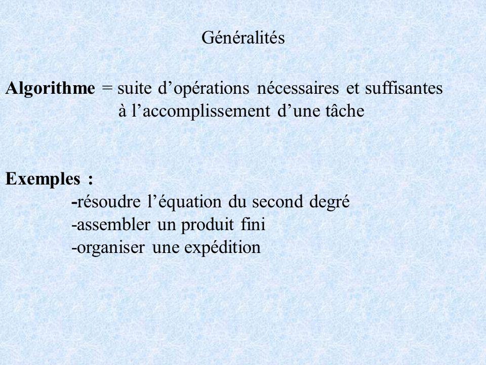 Généralités Algorithme = suite d'opérations nécessaires et suffisantes. à l'accomplissement d'une tâche.
