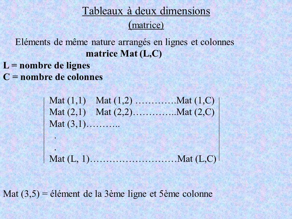 Tableaux à deux dimensions (matrice)