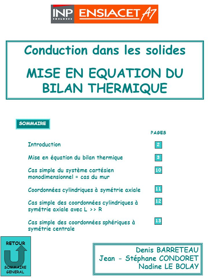 Conduction dans les solides MISE EN EQUATION DU BILAN THERMIQUE