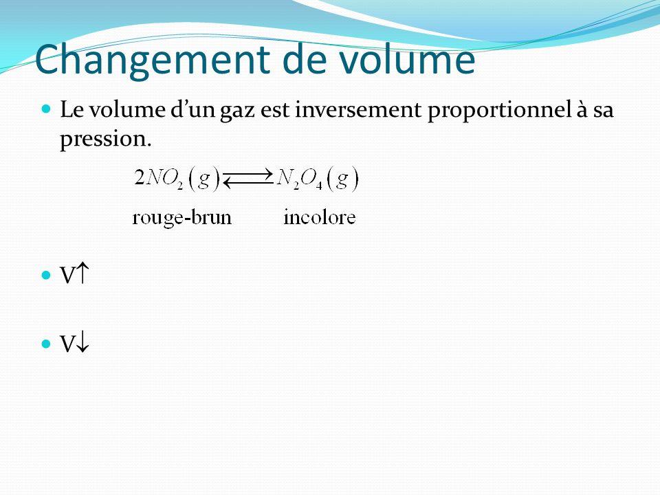 Changement de volume Le volume d'un gaz est inversement proportionnel à sa pression. V V