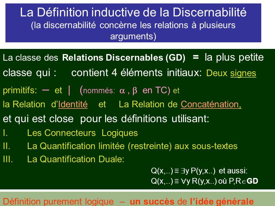 La Définition inductive de la Discernabilité (la discernabilité concèrne les relations à plusieurs arguments)